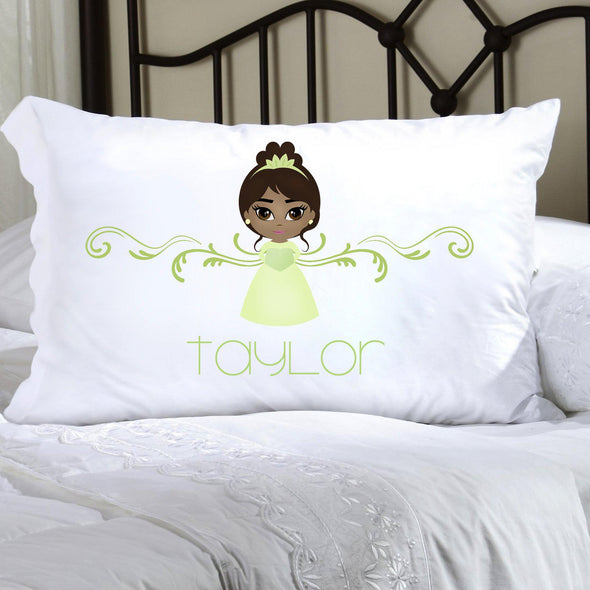 Personalized Princess Kids Pillowcase - Green - JDS