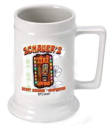 Personalized Ceramic Beer Stein - Personalized Ceramic Beer Mug - All - Tiki - Personalized Barware - AGiftPersonalized