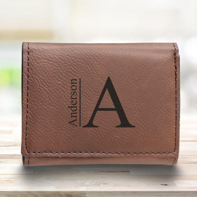 Men's Vegan Leather Trifold Personalized Wallet - Rustic - Modern - JDS