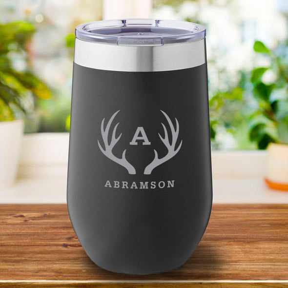 16 oz. Personalized Travel Mug - Black Tumbler - Antlers - JDS