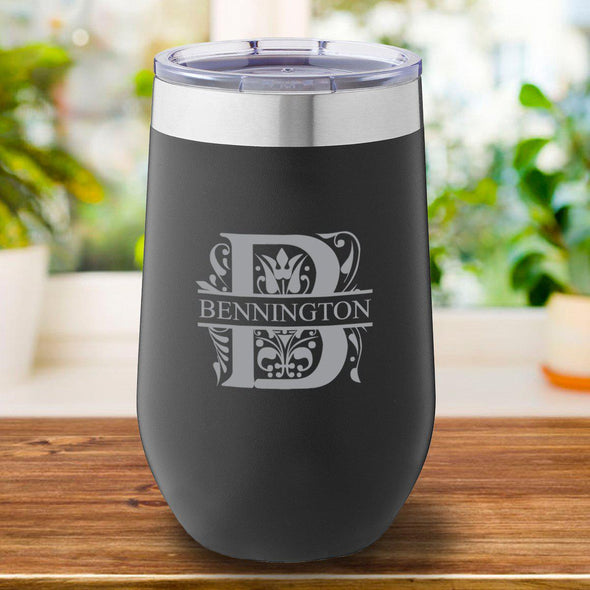 16 oz. Personalized Travel Mug - Black Tumbler - Filigree - JDS