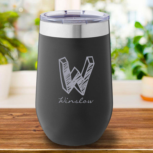 16 oz. Personalized Travel Mug - Black Tumbler - Kate - JDS