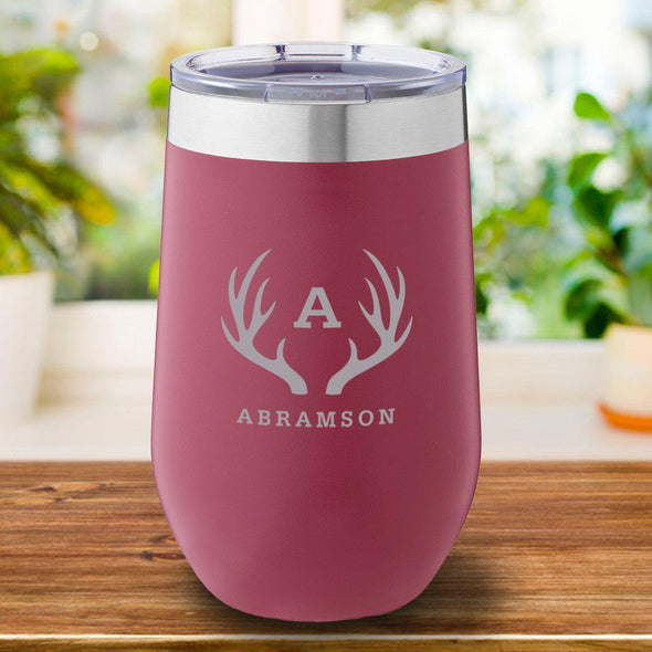 16 oz. Personalized Travel Mug - Burgundy Tumbler - Antlers - JDS