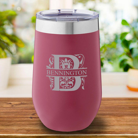 16 oz. Personalized Travel Mug - Burgundy Tumbler - Filigree - JDS