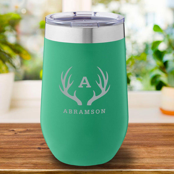 16 oz. Personalized Travel Mug - Green - Antlers - JDS
