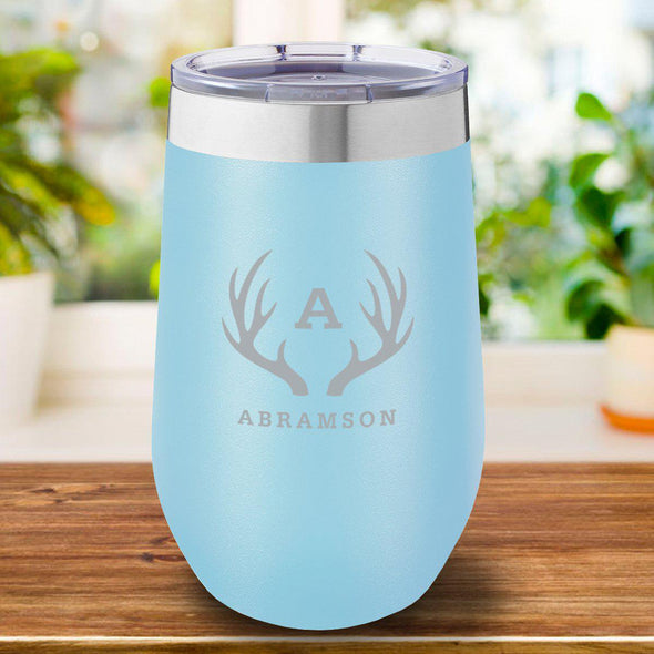 16 oz. Personalized Travel Mug - Light Blue - Antlers - JDS