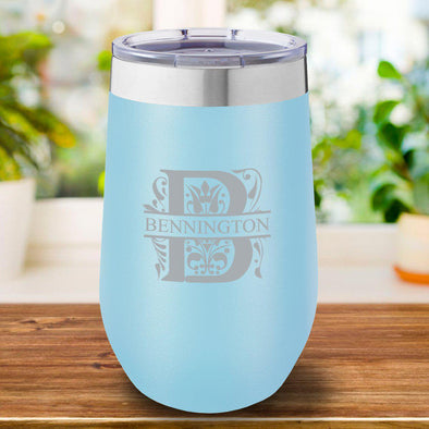 16 oz. Personalized Travel Mug - Light Blue Tumbler - Filigree - JDS