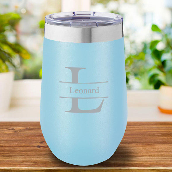 16 oz. Personalized Travel Mug - Light Blue - Stamped - JDS