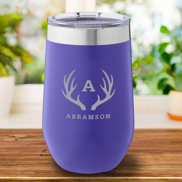 16 oz. Personalized Travel Mug - Purple Tumbler - Antlers - JDS