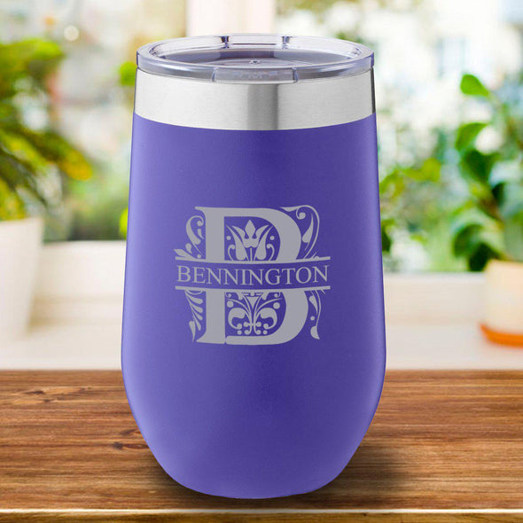 16 oz. Personalized Travel Mug - Purple Tumbler - Filigree - JDS