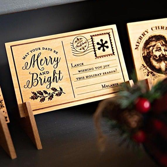 Personalized Wood Christmas Postcards -  - Qualtry