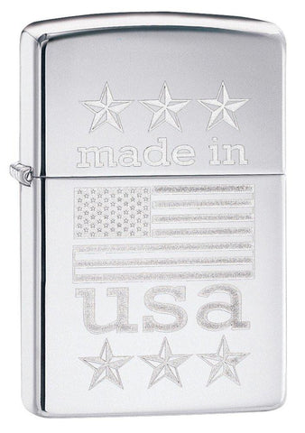Personalized Made in USA with Flag Zippo Lighter -