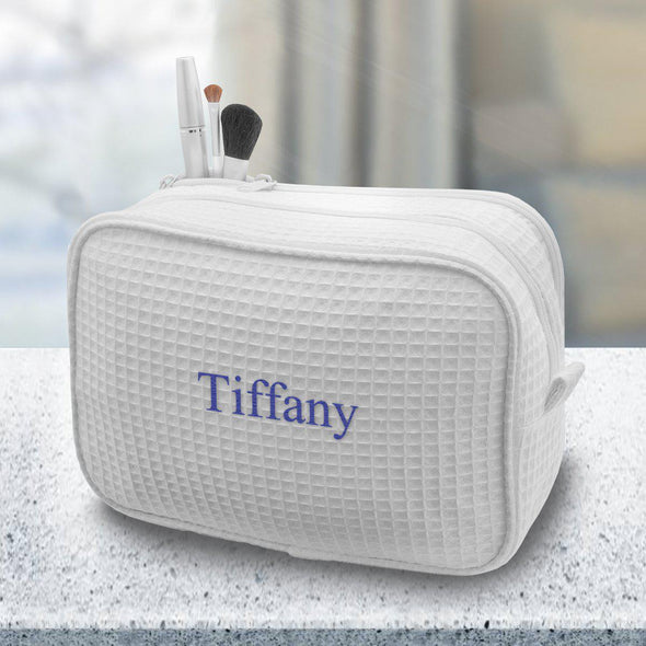 Personalized Large Waffle Cosmetic Makeup Bag - White - JDS