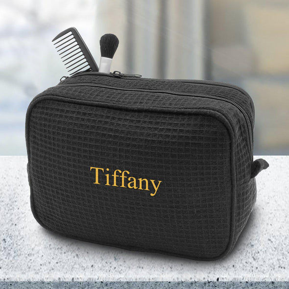 Personalized Large Waffle Cosmetic Bag - Makeup Bag - Black - JDS