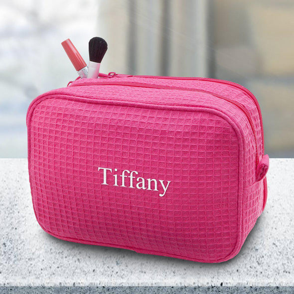 Personalized Large Waffle Cosmetic Bag - Makeup Bag - Pink - JDS