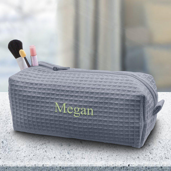 Personalized Small Waffle Cosmetic Bag - Makeup Bag - Grey - JDS