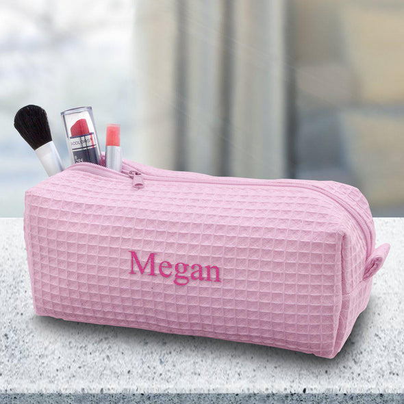 Personalized Small Waffle Cosmetic Bag - Makeup Bag - Pink - JDS