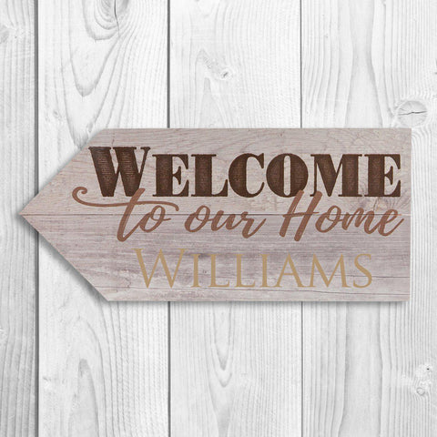 Personalized Wooden Arrow Signs - Welcome - Home Decor - AGiftPersonalized