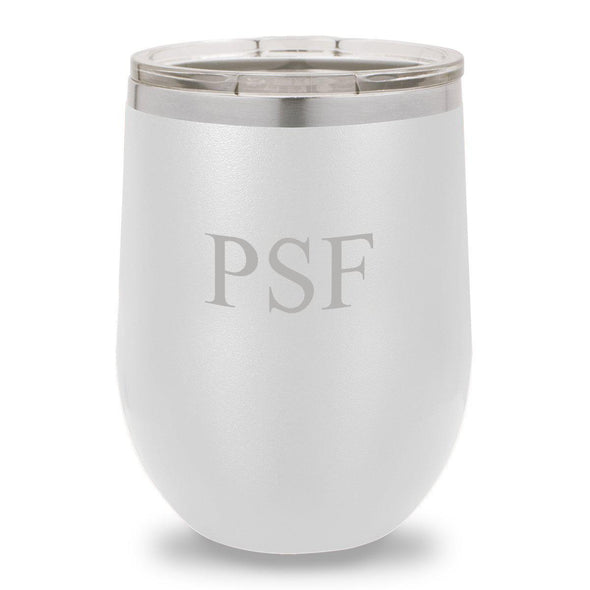 12 oz. Insulated Wine Tumbler - White - 3Initials - JDS