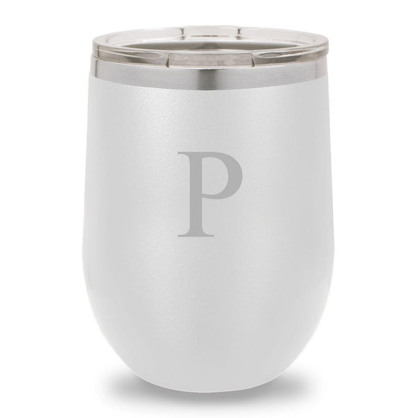 12 oz. Insulated Wine Tumbler - White - SingleInitial - JDS