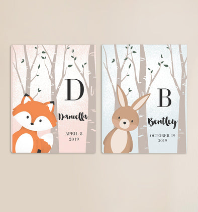 Personalized Woodland Animal Canvas - Pink or Blue -  - JDS