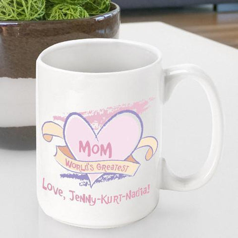 Personalized  Mother's Day Coffee Mug - World's Greatest - Gifts for Mom - AGiftPersonalized