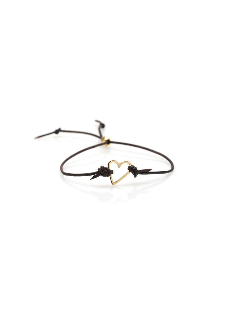 Open Heart Leather Bracelet