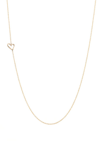 Offset Tiny Open Heart Necklace