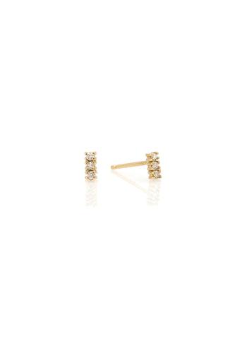 14k 3 Stone Diamond Stud
