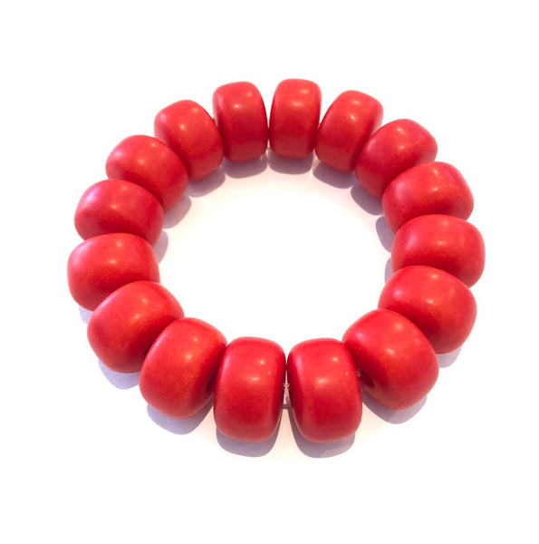 Coral African Bead Bracelet