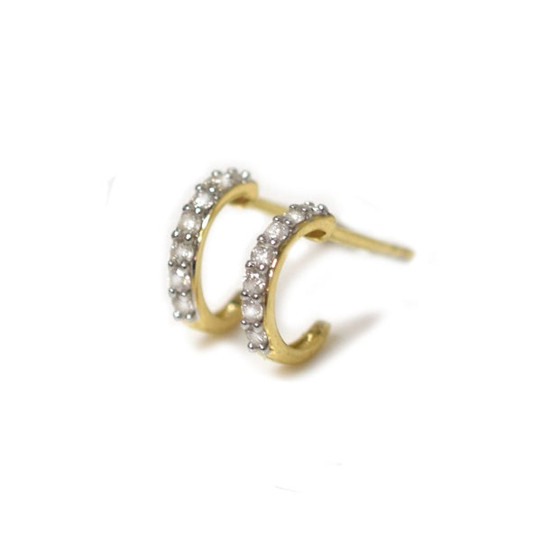 14k Mini Diamond Hoops