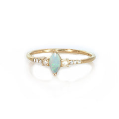 14k Opal, Diamond and Pearl Savoy Ring