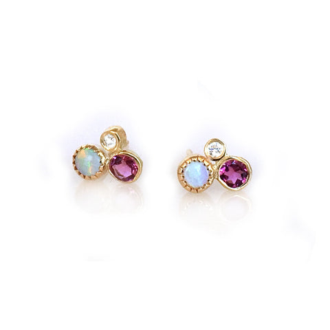 14k Opal, Diamond and Pink Tourmaline Cluster Studs