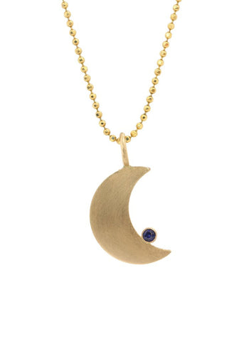 14k Small Moon Pendant
