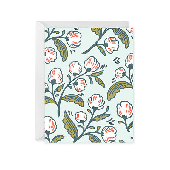 Blank Card - White Florals