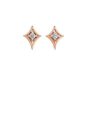 14k Geometric Studs w/ Diamond