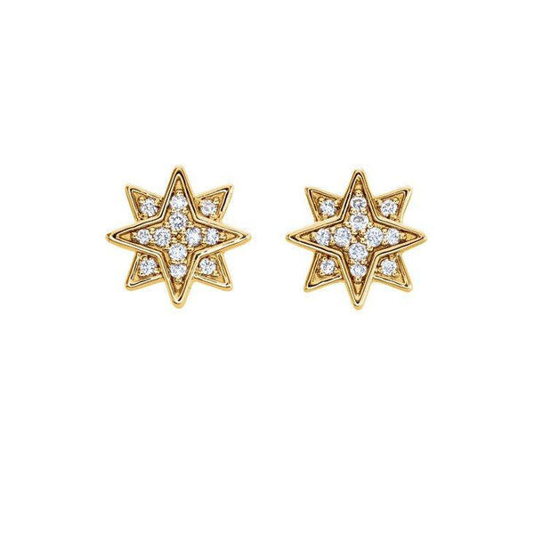 14k Starburst Studs with Diamonds