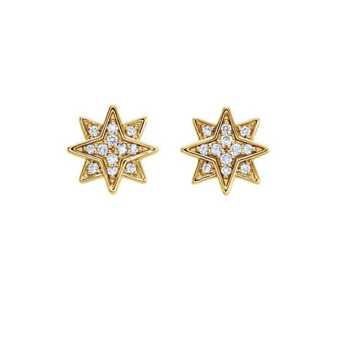 14k Starburst Studs w/ Diamonds