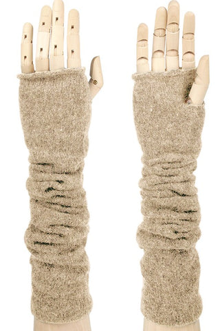 Fingerless Knit Gloves-Beige