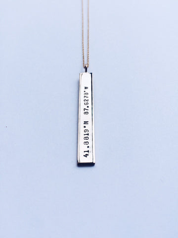 45mm Map Coordinates Pendant Necklace