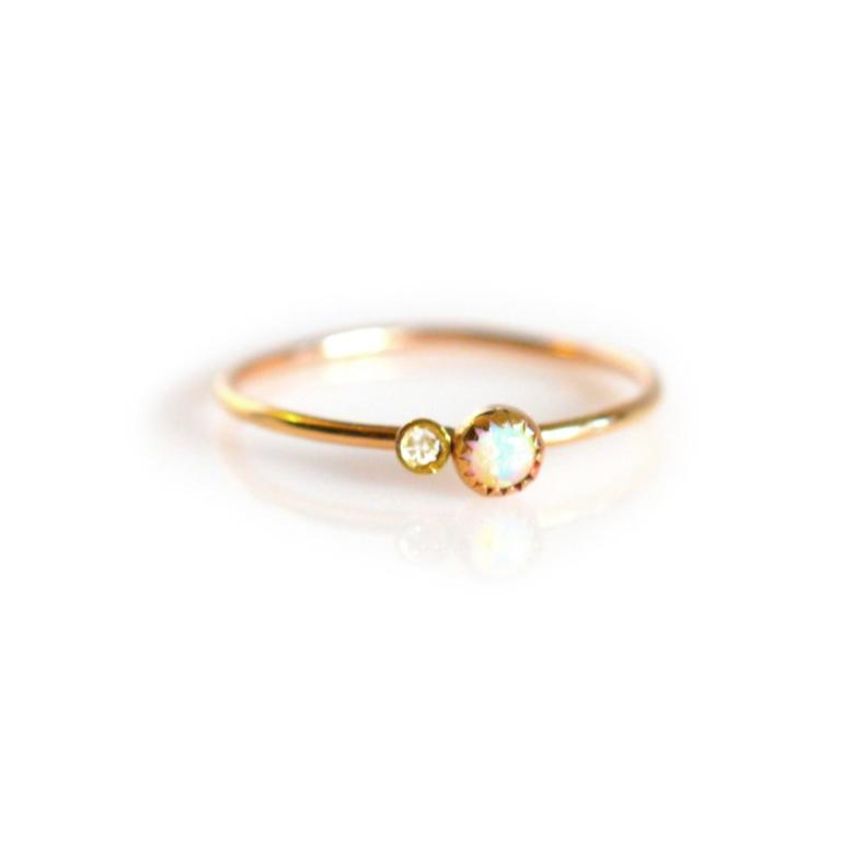 Sweetheart Ring • Opal & Diamond