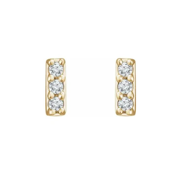 14k 3-Stone Diamond Stud