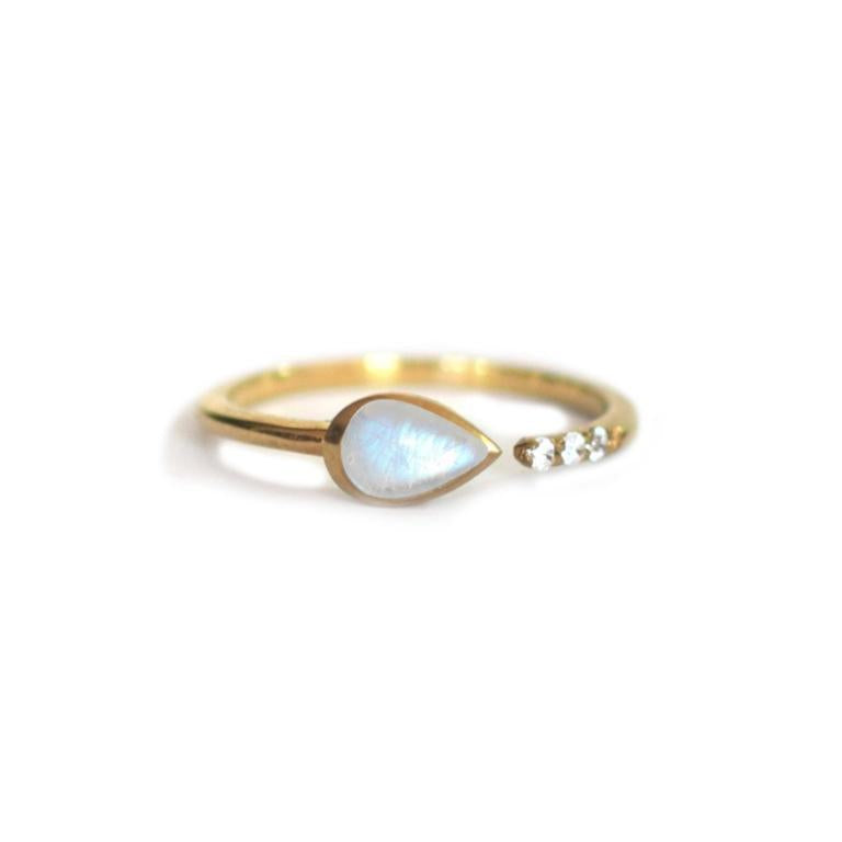 Siren Ring • Rainbow Moonstone + Topaz