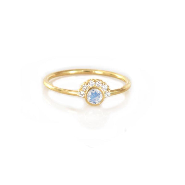 14k Gold Rainbow Moonstone & Diamond Aztec Ring