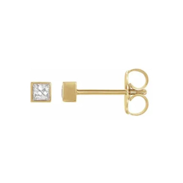 14k Diamond Square Stud