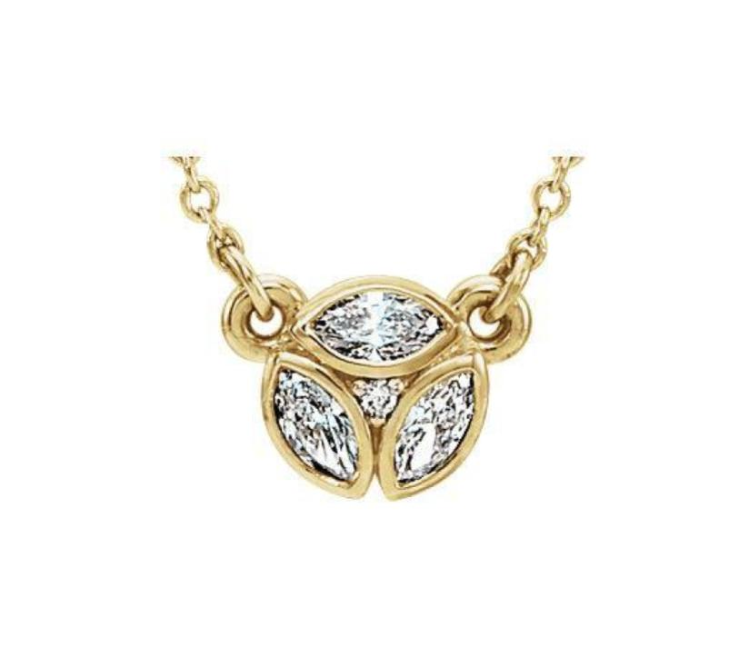14k 3-Stone Marquise Diamond Necklace