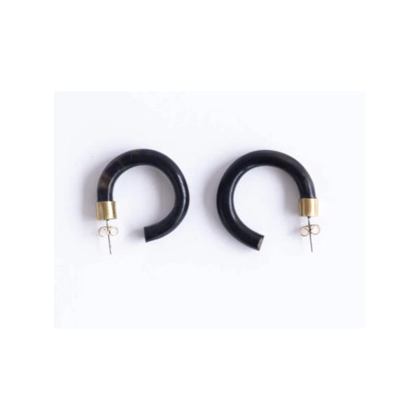 Amber Horn Hoops • Small