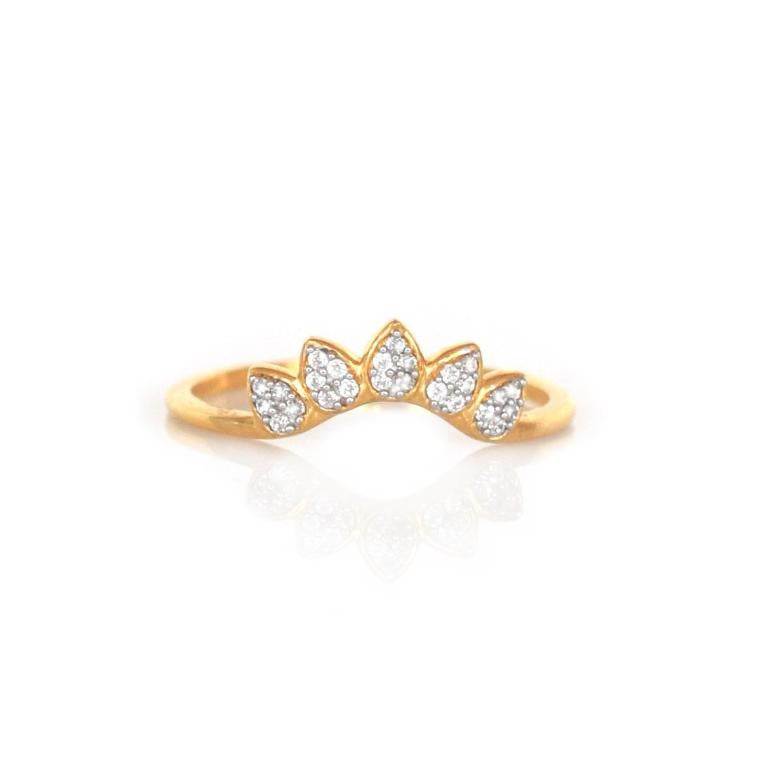 Diamond Sunflower Arc Ring