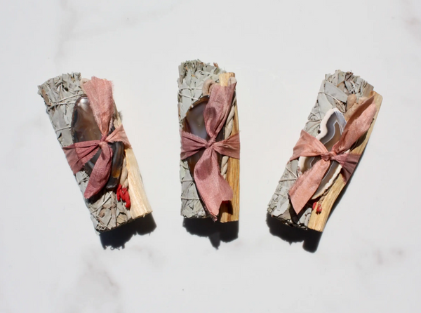 White Sage + Agate Smudge Stick • Rose