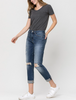 Distressed Stretch Mom Denim